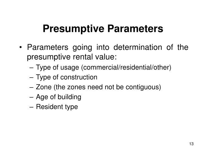 Presumptive Parameters