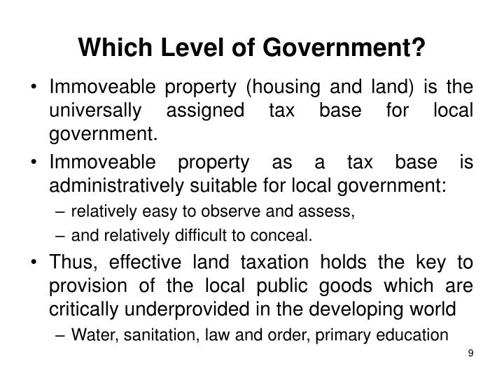 Which Level of Government?