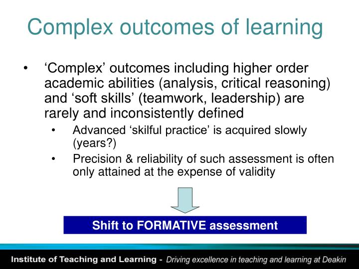 Complex outcomes of learning