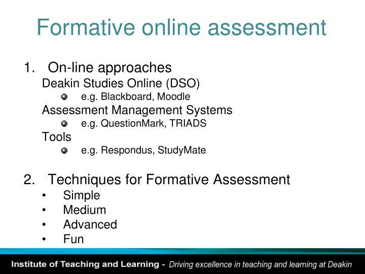 Formative online assessment