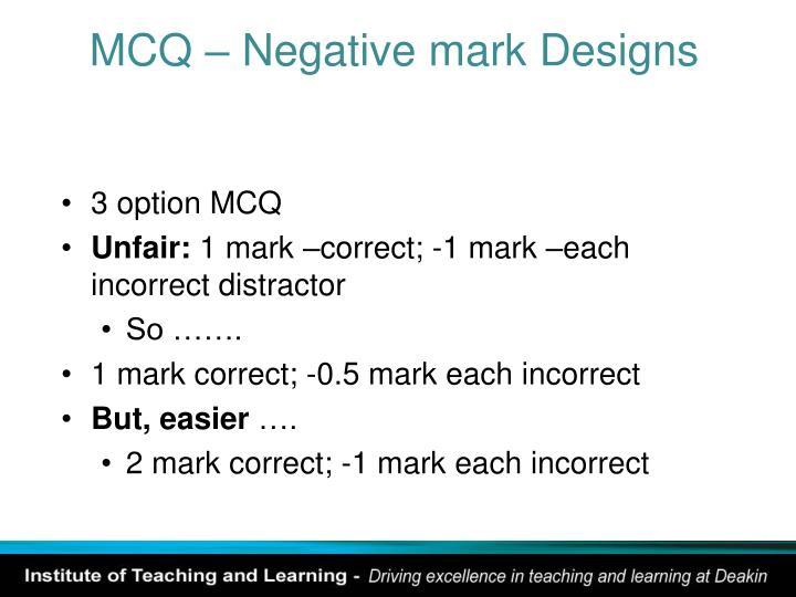 MCQ – Negative mark Designs