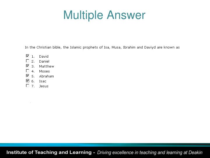 Multiple Answer