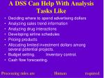 a dss can help with analysis tasks like