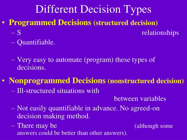 Different Decision Types