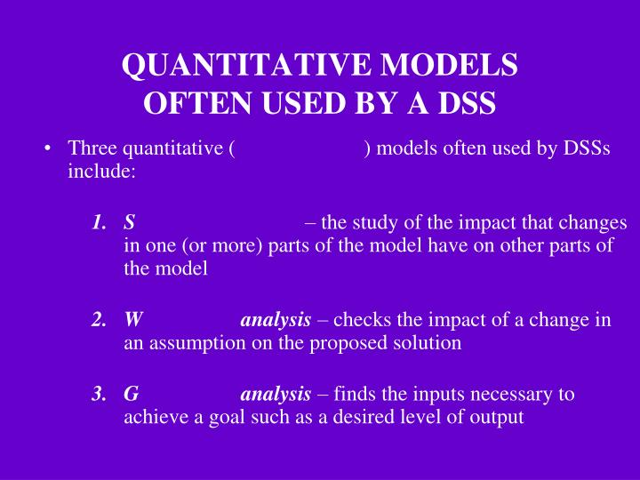 QUANTITATIVE MODELS