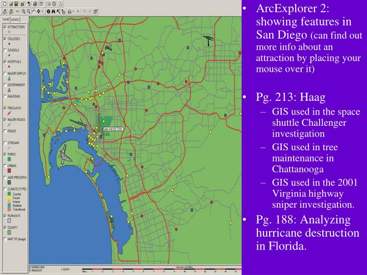 ArcExplorer 2: showing features in San Diego