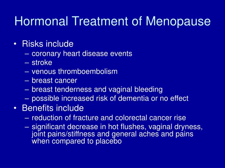 Hormonal Treatment of Menopause