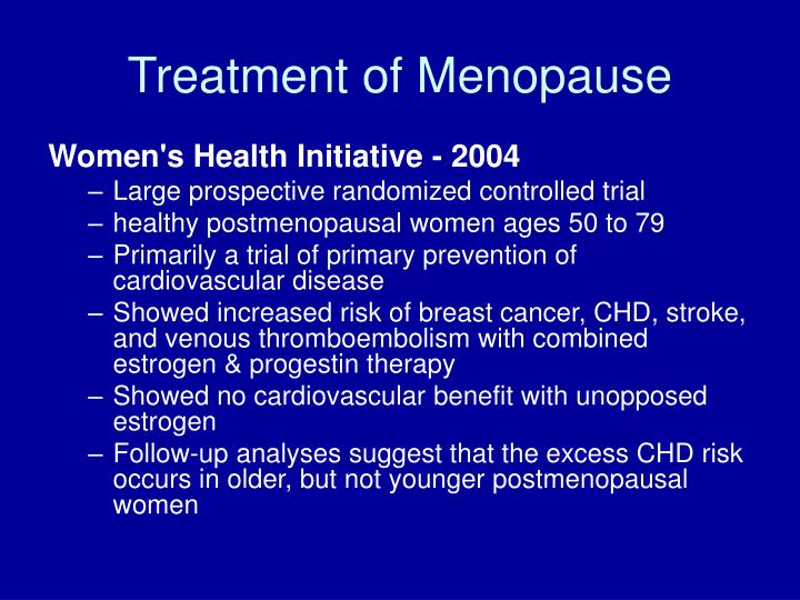 Treatment of Menopause
