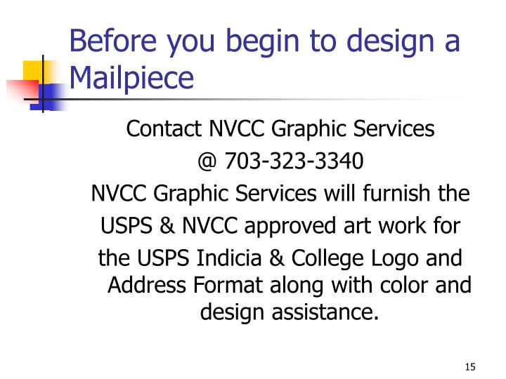 Before you begin to design a Mailpiece