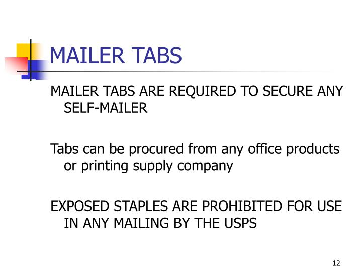 MAILER TABS