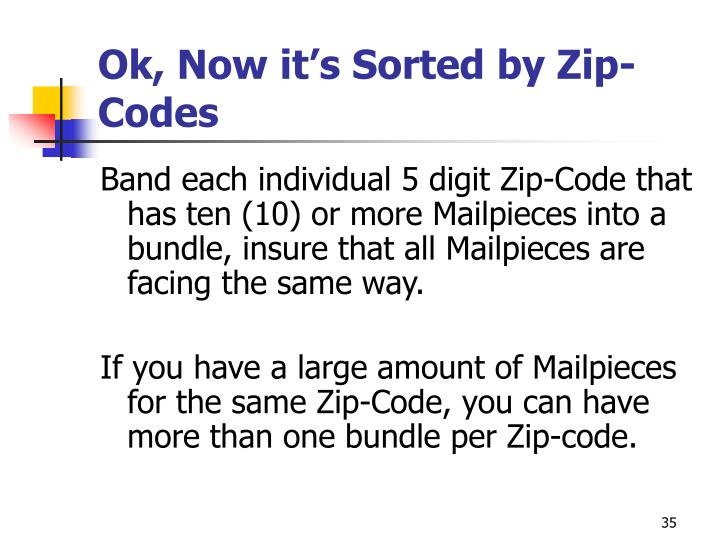 Ok, Now it's Sorted by Zip-Codes