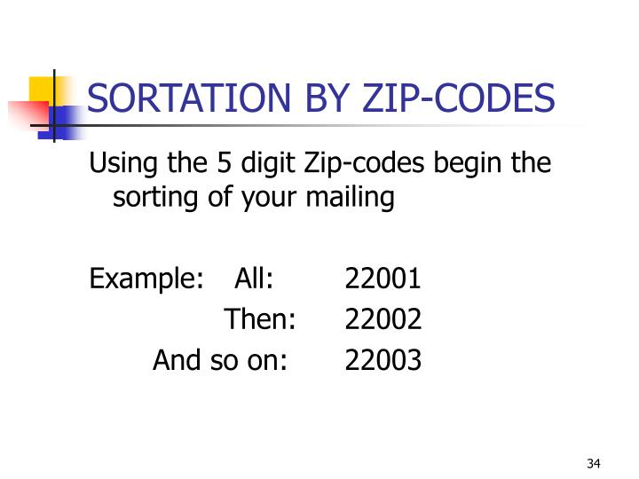 SORTATION BY ZIP-CODES