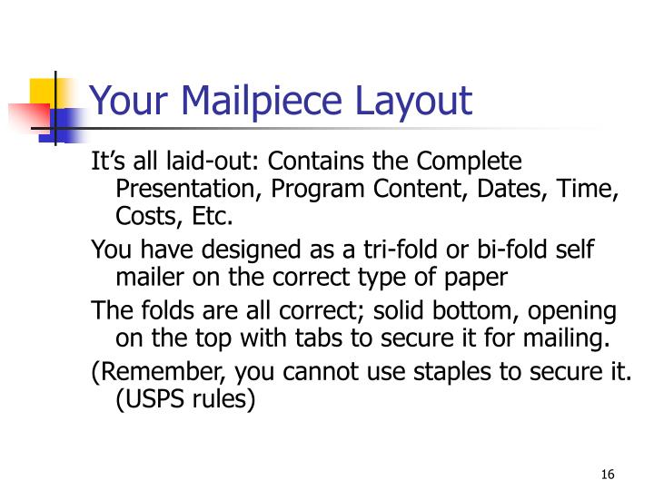Your Mailpiece Layout