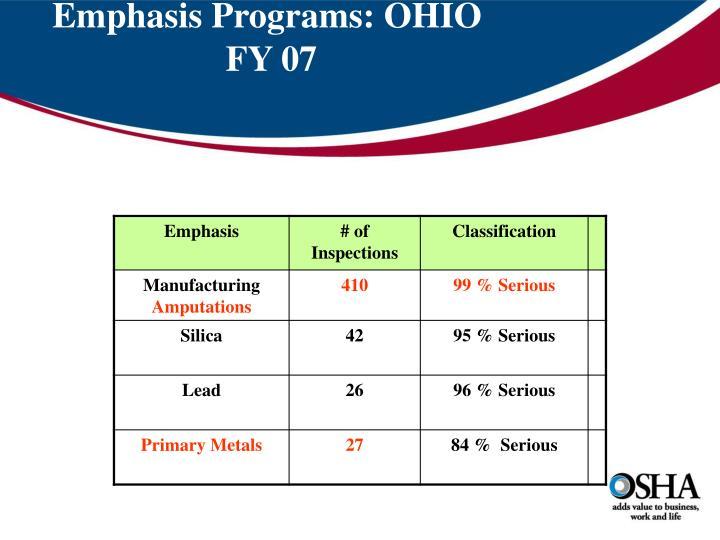 Emphasis Programs: OHIO