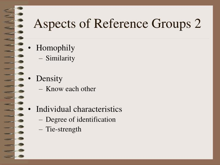 Aspects of Reference Groups 2