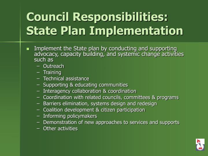 Council Responsibilities: State Plan Implementation