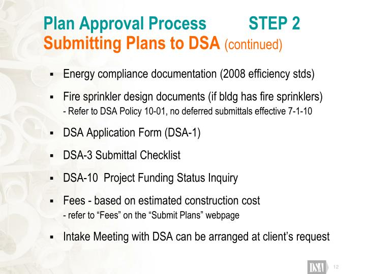 Plan Approval Process          STEP 2