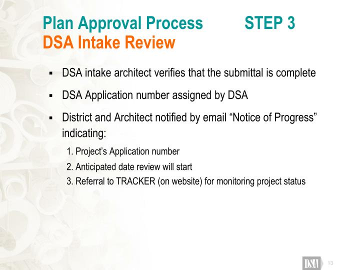 Plan Approval Process          STEP 3
