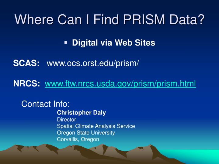 Where Can I Find PRISM Data?