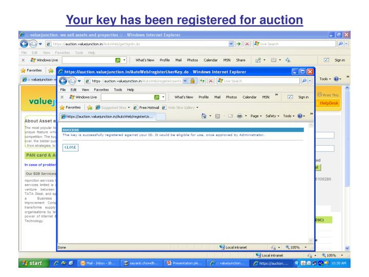 Your key has been registered for auction