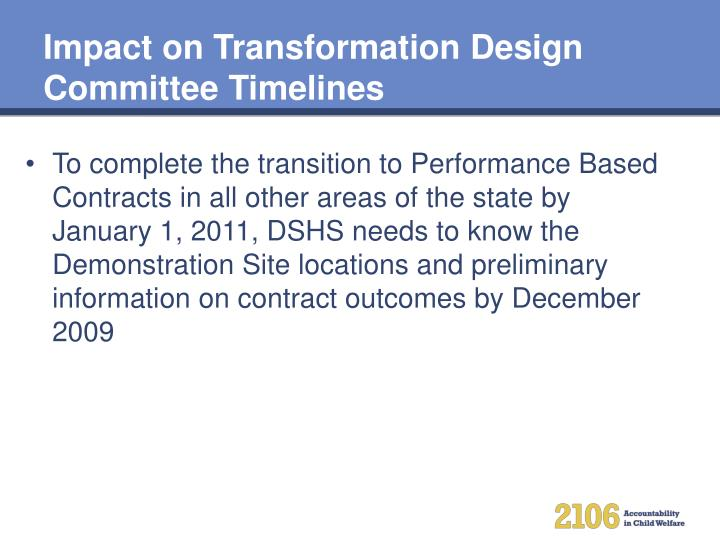 Impact on Transformation Design Committee Timelines