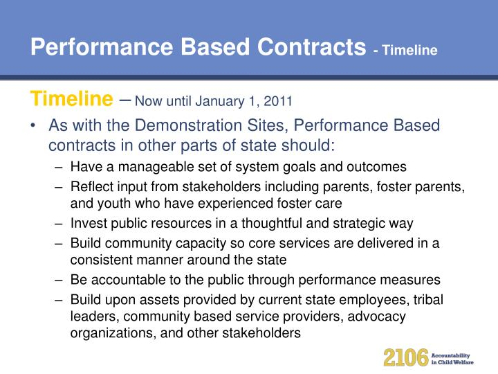 Performance Based Contracts