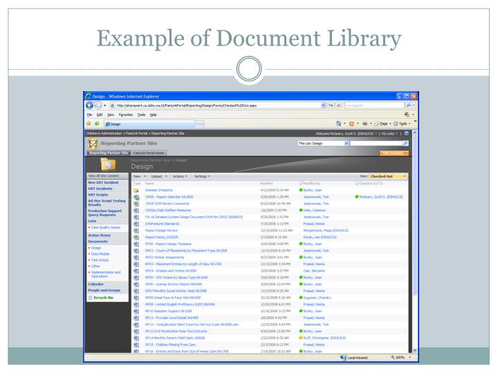 Example of Document Library