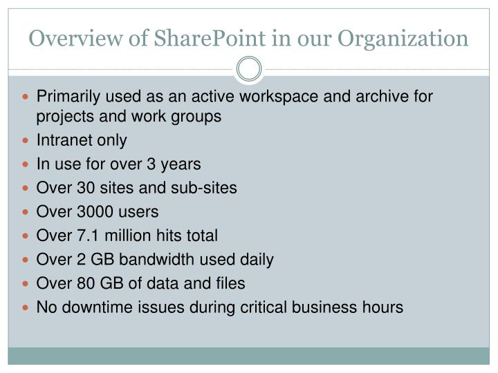 Overview of SharePoint in our Organization