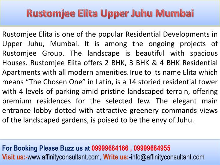Rustomjee Elita Upper Juhu Mumbai