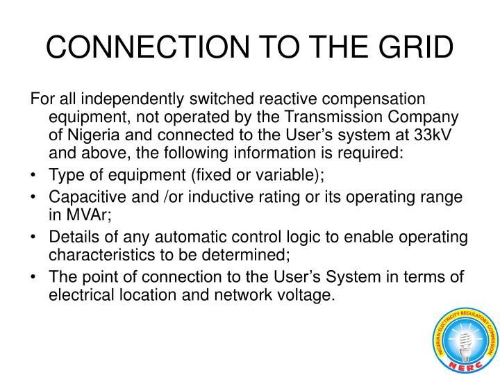 CONNECTION TO THE GRID