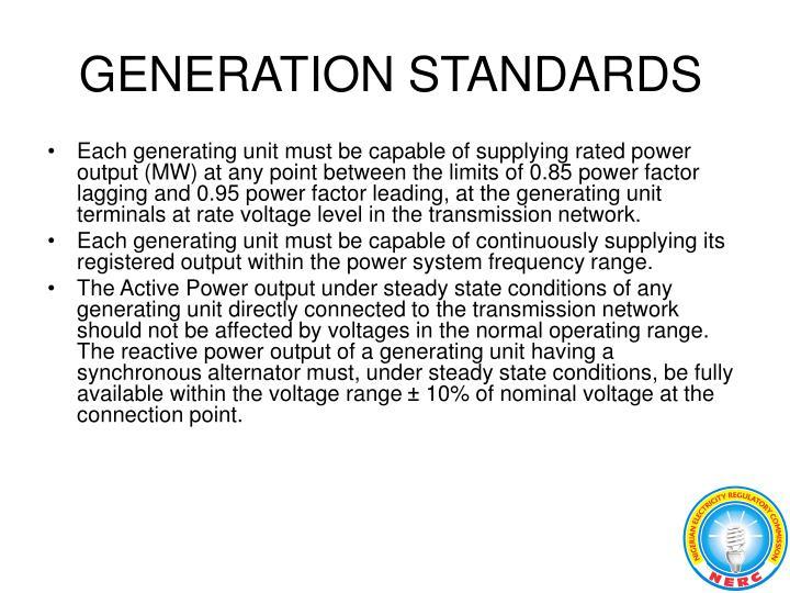 GENERATION STANDARDS
