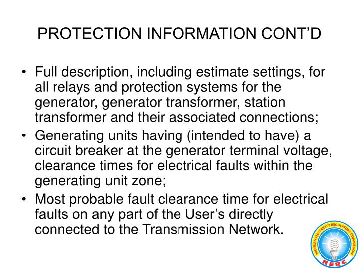 PROTECTION INFORMATION CONT'D
