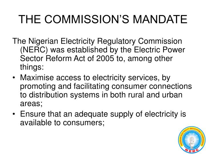 THE COMMISSION'S MANDATE