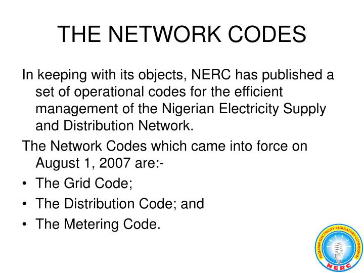 THE NETWORK CODES