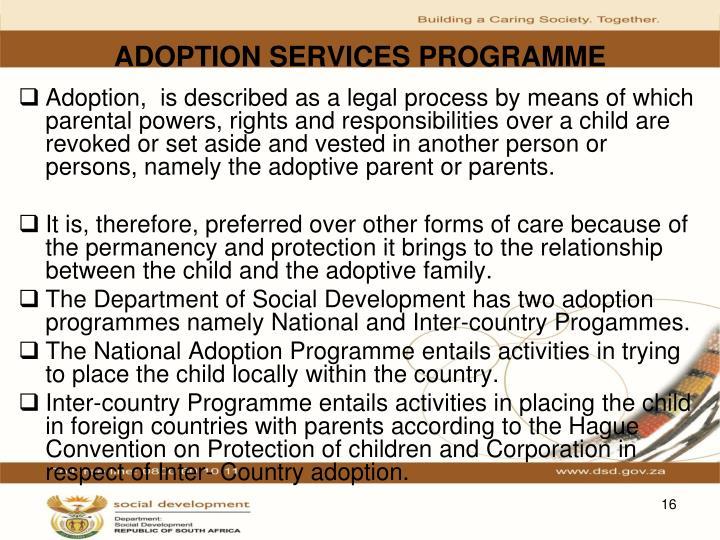 ADOPTION SERVICES PROGRAMME