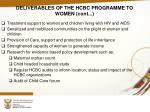 deliverables of the hcbc programme to women cont