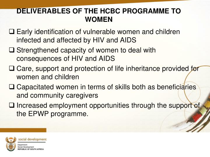 DELIVERABLES OF THE HCBC PROGRAMME TO WOMEN