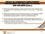 impact of community development programmes and services to women and children cont