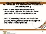 impact of community development programmes and services to women and children cont1