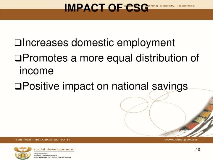 IMPACT OF CSG