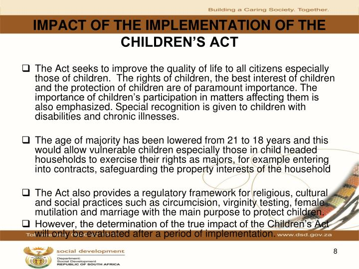 IMPACT OF THE IMPLEMENTATION OF THE CHILDREN'S ACT