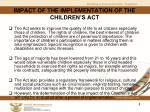 impact of the implementation of the children s act