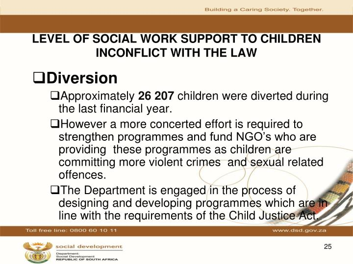 LEVEL OF SOCIAL WORK SUPPORT TO CHILDREN INCONFLICT WITH THE LAW