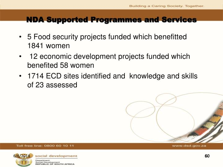 NDA Supported Programmes and Services