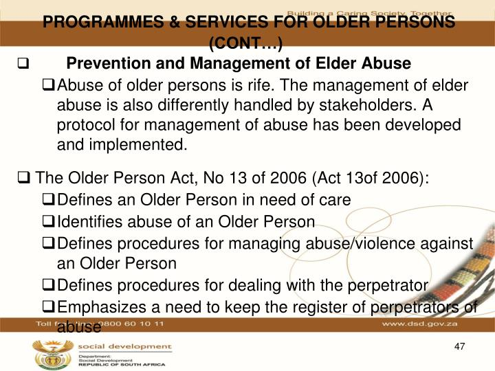 PROGRAMMES & SERVICES FOR OLDER PERSONS (CONT…)