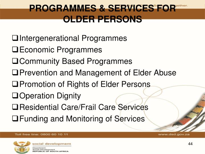 PROGRAMMES & SERVICES FOR OLDER PERSONS