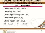 social assistance programmes that have direct impact on women and children