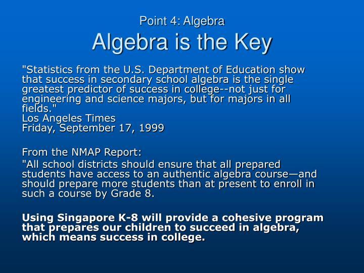 Point 4: Algebra