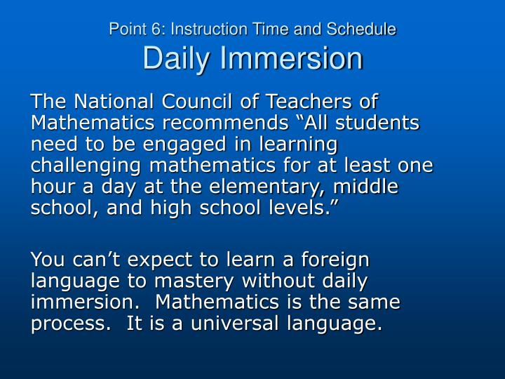 Point 6: Instruction Time and Schedule