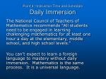 point 6 instruction time and schedule daily immersion